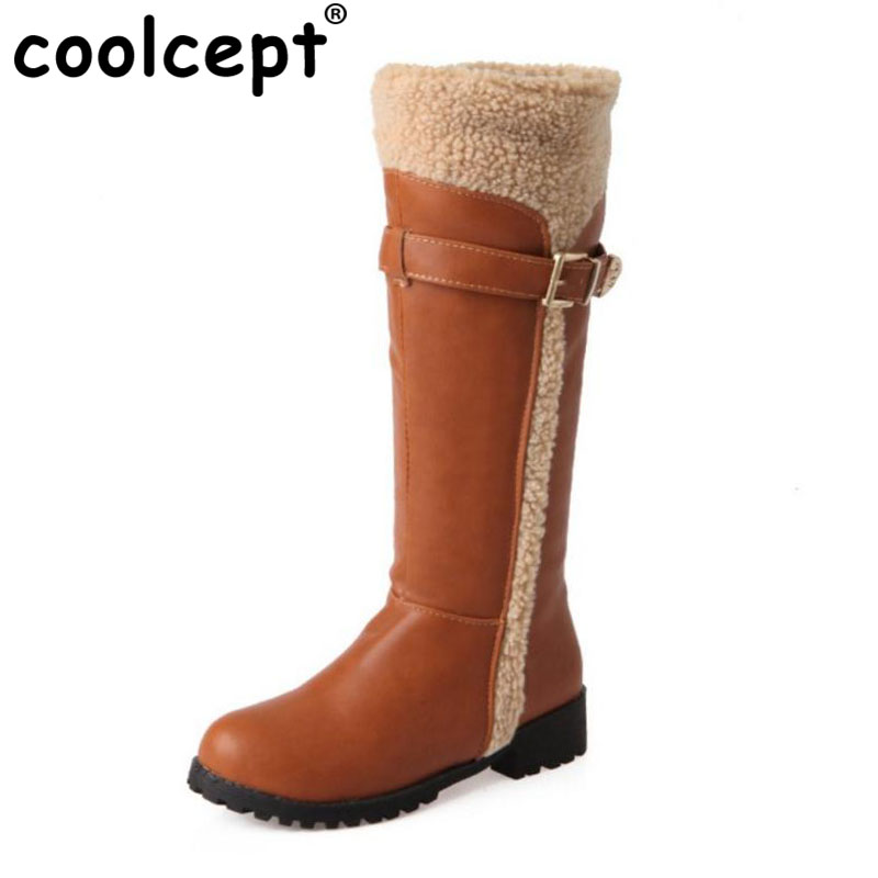 Coolcept Size 34-43 Women Mid Calf Flats Boots Thick Fur Metal Flats Boots Women Warm Fur Shoes Winter Botas For Woman Footwears
