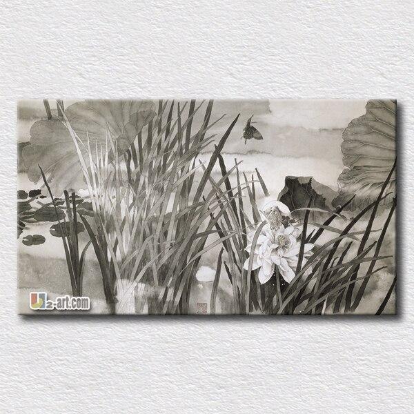 ∞Pintura del arte de la pared moderna arte chino de loto pintura ...