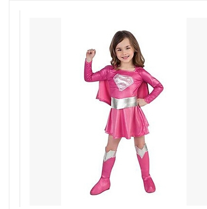 ,children hot pink superman girl dress,halloween cosplay party super hero costume with cape,boots,belt .
