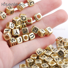 Hisenlee High Quality 200pc 6x6mm 3.5MM Hole Mixed Alphabet Ancient gold Cube Acrylic Beads For Making DIY Bracele Craft