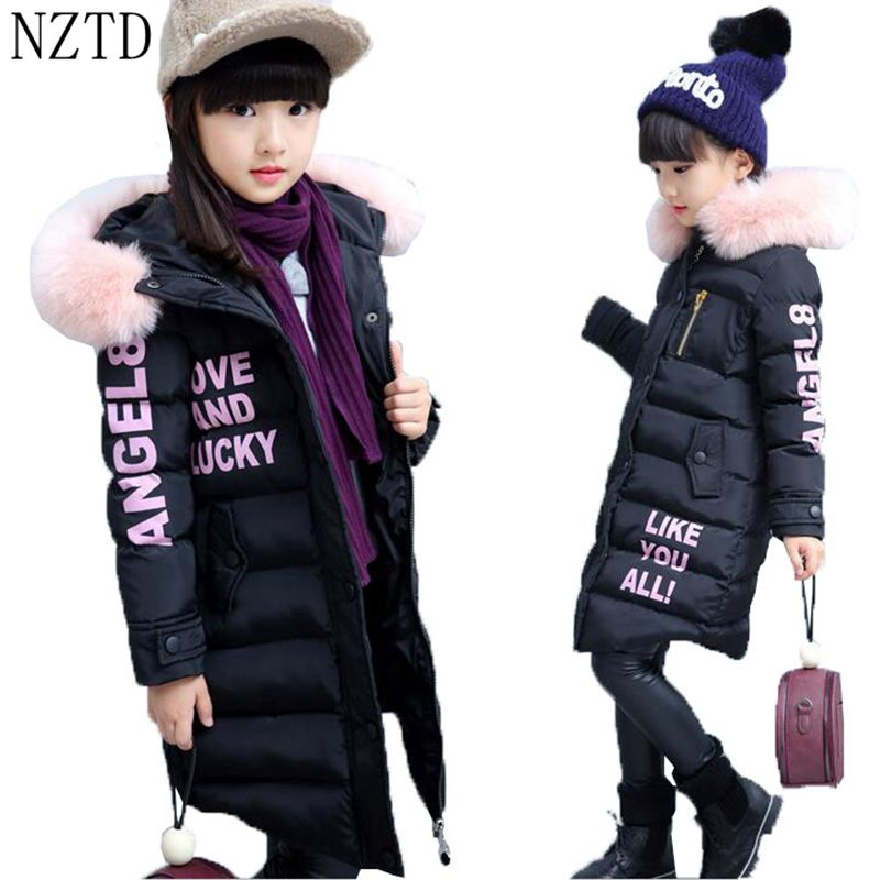 2017 New Fashion Winter Girl Cotton Coat Children Clothes Thick Warm Girl Down Jacket Casual Long Kids Clothing 4-14Years DC596