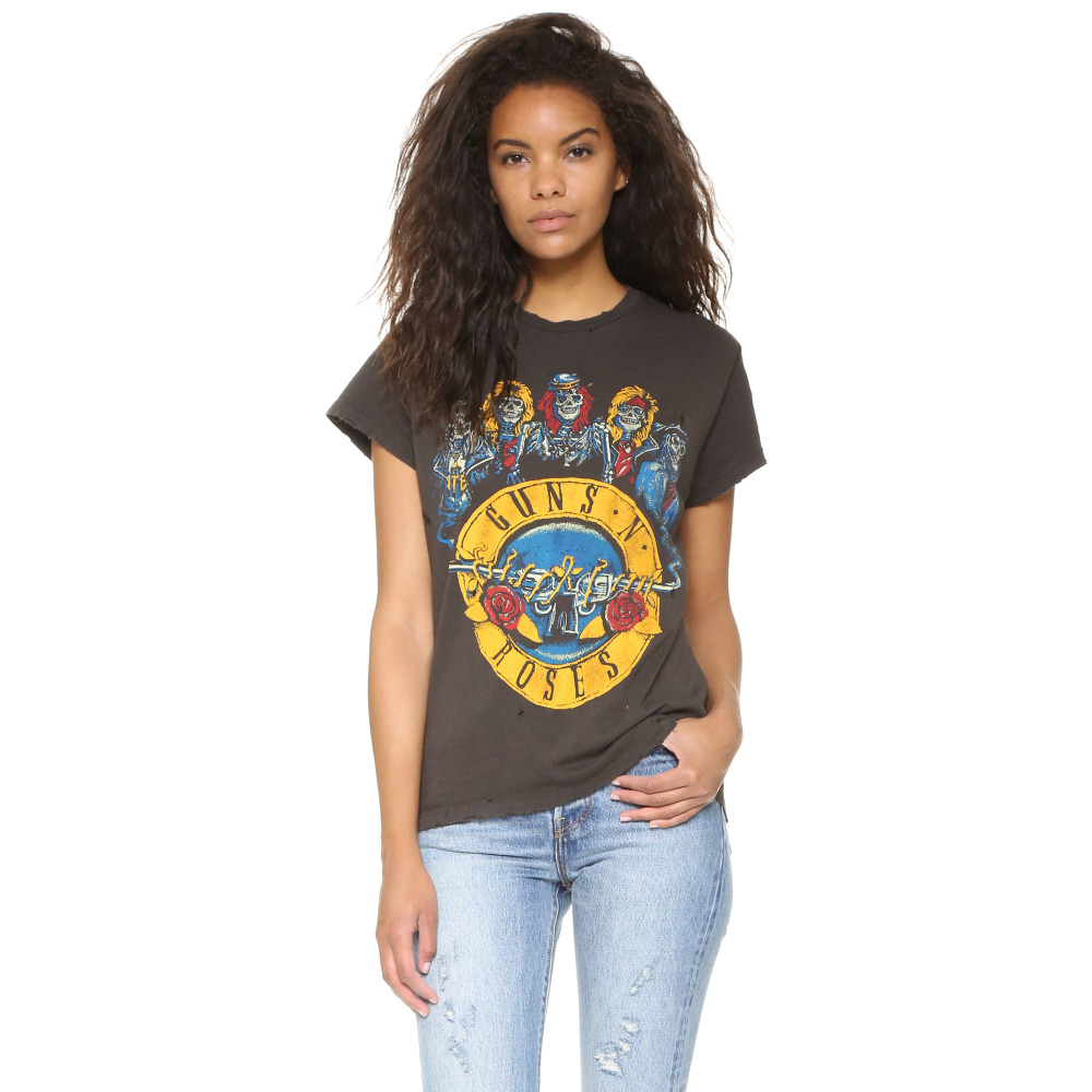 Brown Short Sleeve O Neck Distressed Ripped Holes Guns N Roses Print T Shirts For Women Ladies Girls Casual Rock Punk Tees Tops