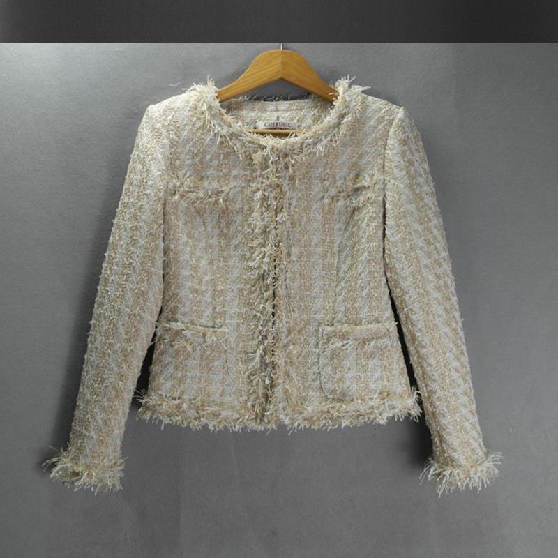 Blue tweed jacket 2017 new autumn and winter women's temperament ...