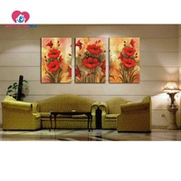 Diamond Mosaic Square Flowers Pictures With Rhinestones Painting Triptych Diy 5d Diamond Painting DIAMOND EMBROIDERY Flores