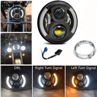Marloo For Harley Davidson 7 LED Projector Daymaker Headlight White DRL Amber Signal Light W/ Mounting Bracket Harley Touring