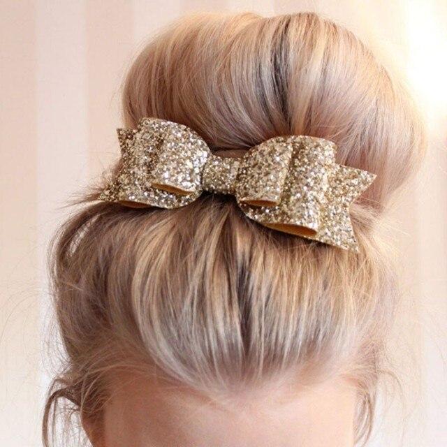 1 Pcs Nouvelle Mode Femmes Pinces À Cheveux Lady Filles Sequin Grand Bowknot Barrette Épingle À Cheveux Arc Accessoires