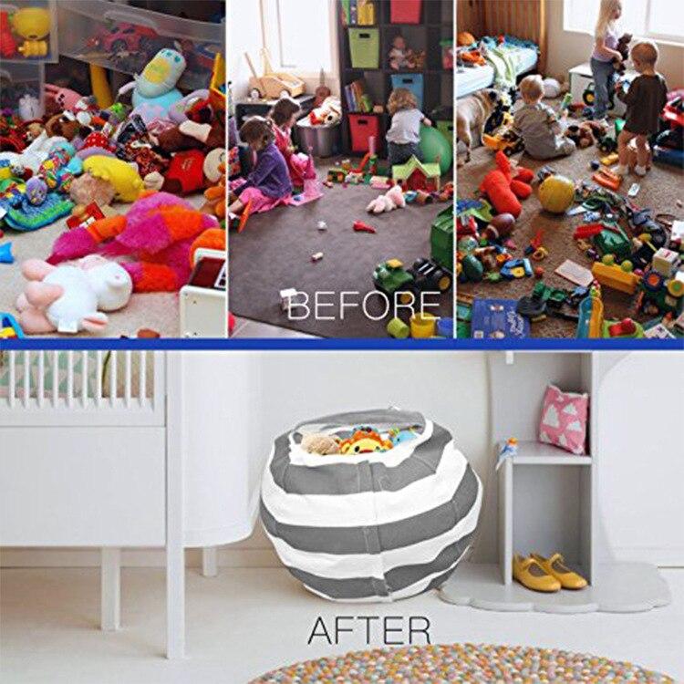 Купить с кэшбэком Large Capacity Cosmetic Bag Thickened Stuffed Plush Toy Storage Bean Bag Stripe Storage Package Tote Bags