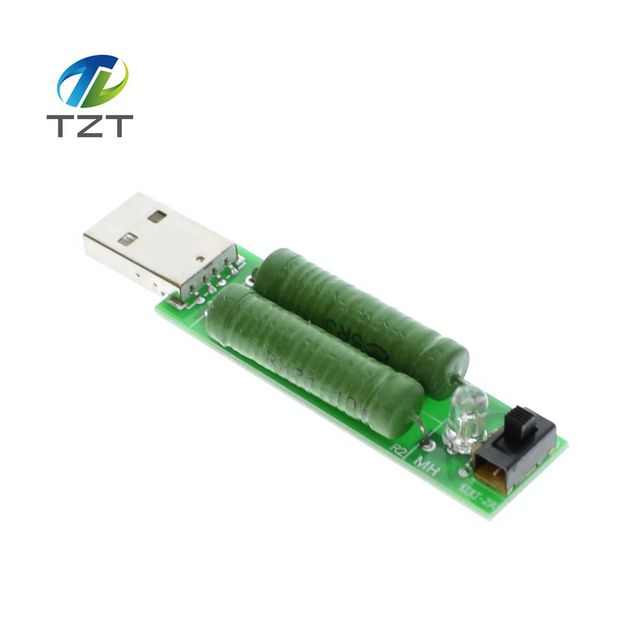 1PCS USB mini discharge load resistor 2A/1A With switch 1A Green led, 2A Red led
