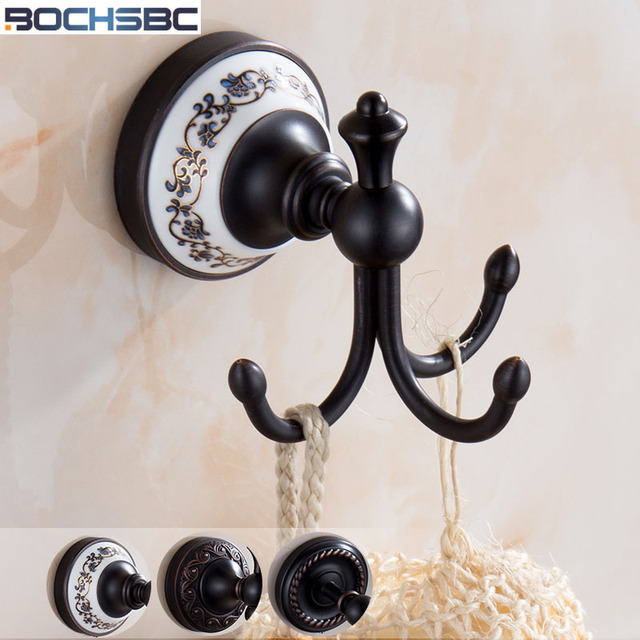 Black Copper Robe Hook Bronze Hook Bathroom Wall Door Towel Coat Vintage Hooks  Wall Hanger Black
