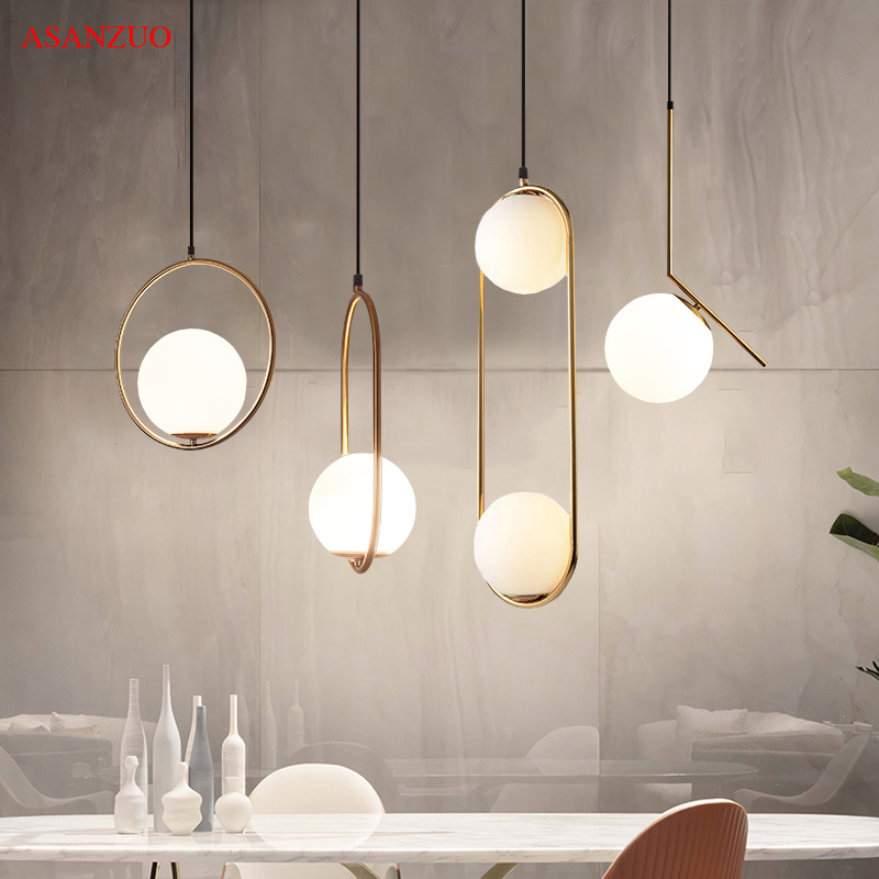 American Glass Ball Pendant Lights Iron Hoop Hang Lamp For Bedroom Cafe Restaurant Bar Indoor Lighting Decoration Light Fixtures