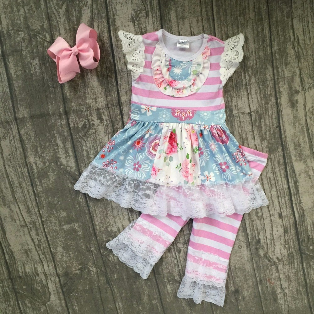 baby girls summer floral outfits kids floral top with stripes ruffle capris clothes girls summer lace ruffle clothes with bows kids ruffle tie neck striped romper