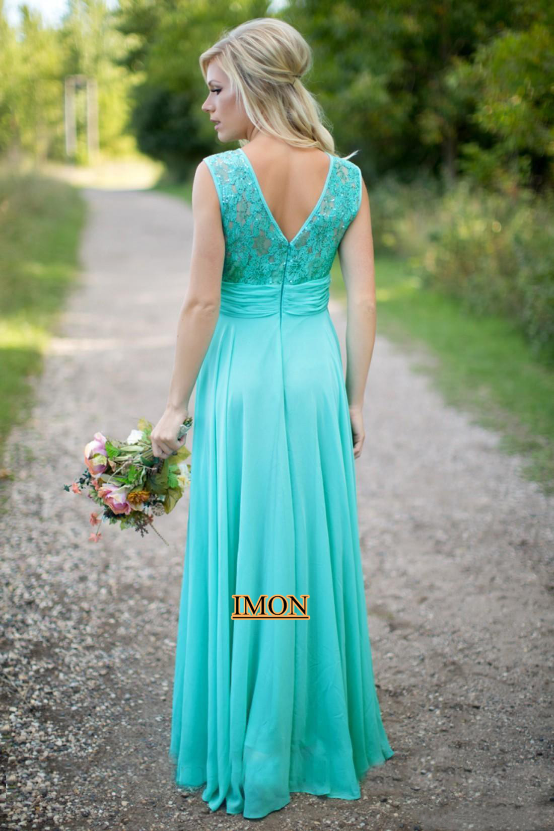 Scoop Turquoise Lace Bridesmaid Dresses 2019 Elegant Sleeveless Backless Floor Length Chiffon Formal Party Dress For Wedding