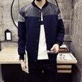 Новый 2016 мода кожа лоскутное трикотажные куртки мужчины slim fit мужской одиночный пресс-металлические кнопки куртка весте homme размер m-5xl JK15