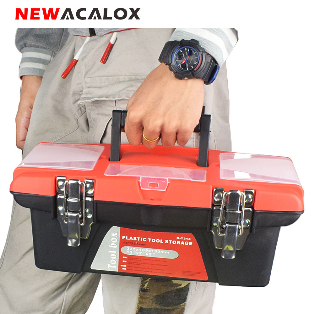 NEWACALOX Multi-Function Toolbox Home Vehicle Maintenance Hand-Held Art Hardware Storage Box Double-layer Repair Tool Box Case