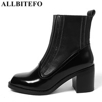 ALLBITEFO Fashion Brand Patent Leather Square Toe Thick Heel Platform Women Boots Medium Heel High Quality