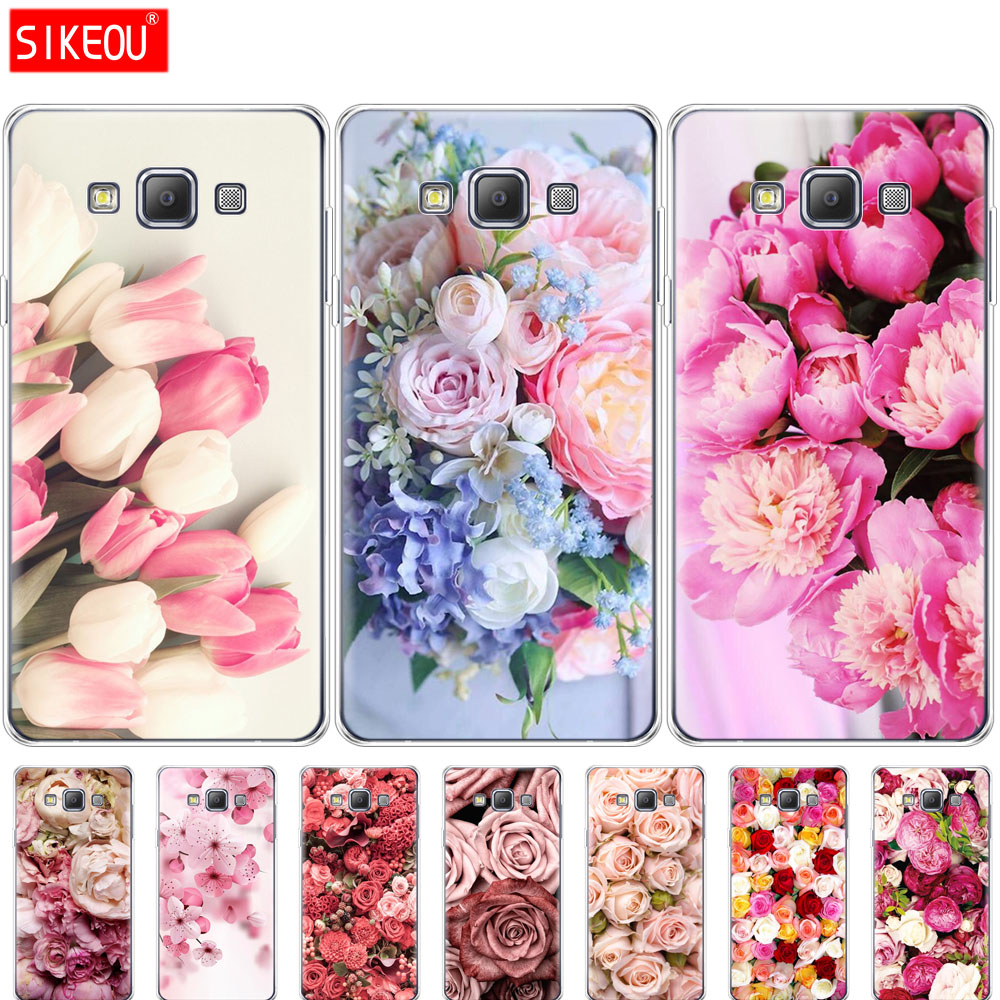 Silicon <font><b>case</b></font> for Samsung Galaxy A3 A5 A7 2015 2016 2017 A500 A510 A520 A300 A310 A320 <font><b>A700</b></font> A710 A720 Colorful Flower Rose Peony image