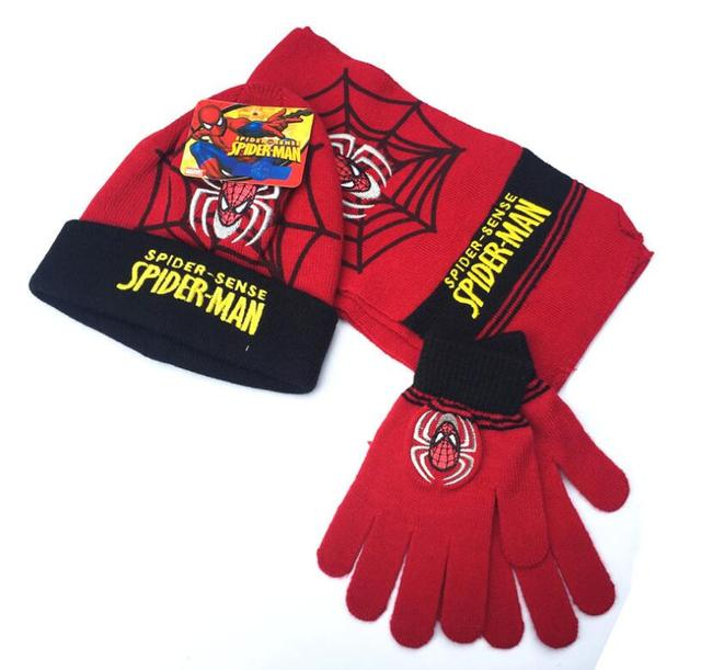 New 2017,baby boys glove,winter warm gloves set cartoon girl gloves sets boy car spiderman elsa mittens+ scarf+hat 3 pcs sets