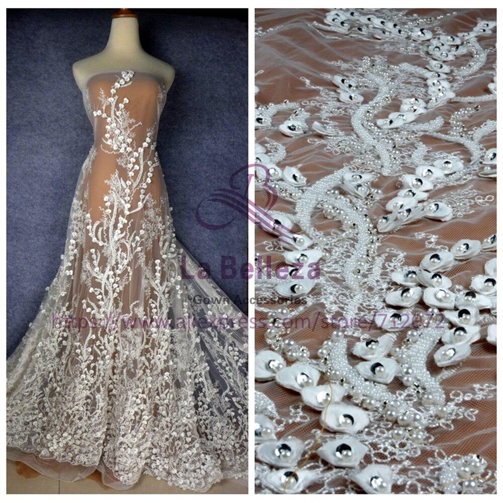 La Belleza Новый Кремовый/черный/бежевый Тяжелая 3D цветы бисером ручной работы свадебное/вечернее платье кружевной ткани SNDD1801 1 ярд