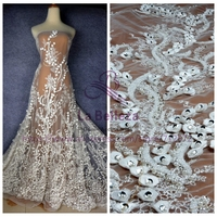 La Belleza New Off white/black/beige heavy 3D flowers handmade beading wedding/evening dress lace fabric SNDD1801 1 yard