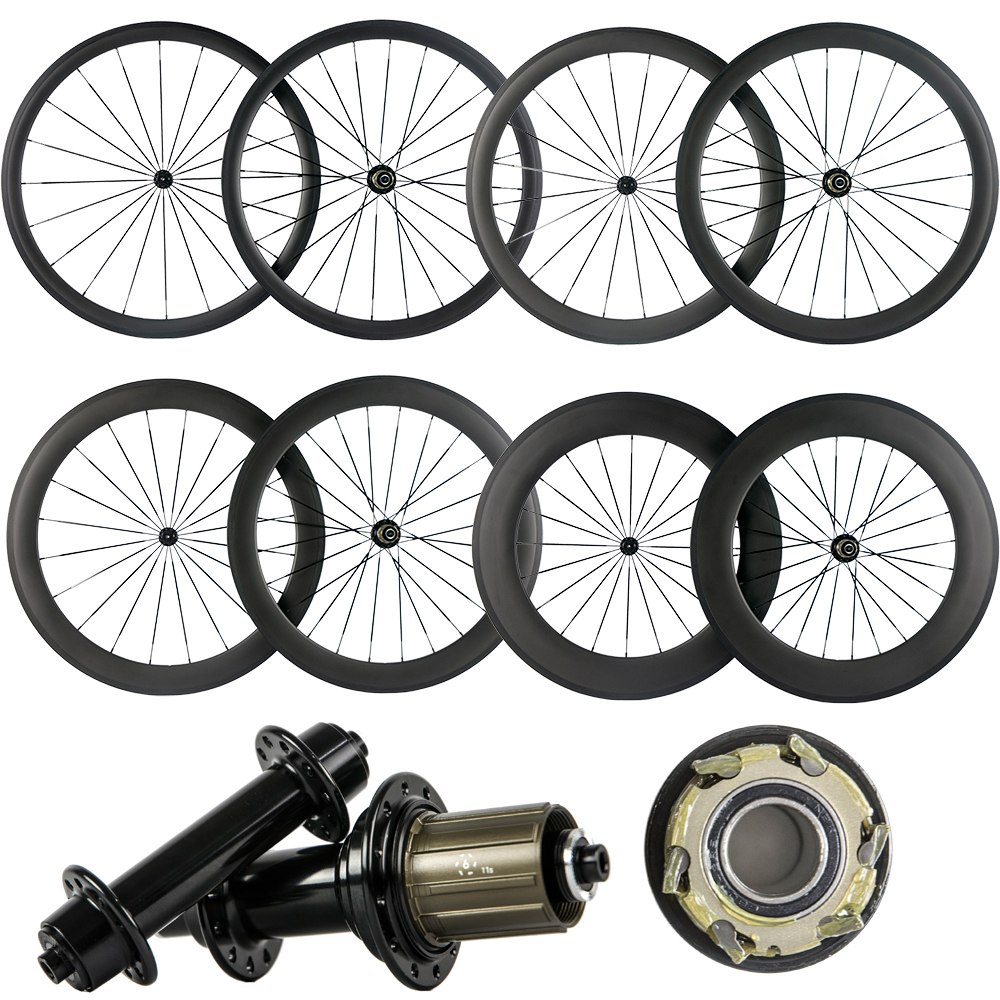 Whole Sale 38/50/60/88 Clincher/Tubular Carbon Wheels Road Bike V Brake Carbon Bicycle Wheelset Front/Rear Wheel