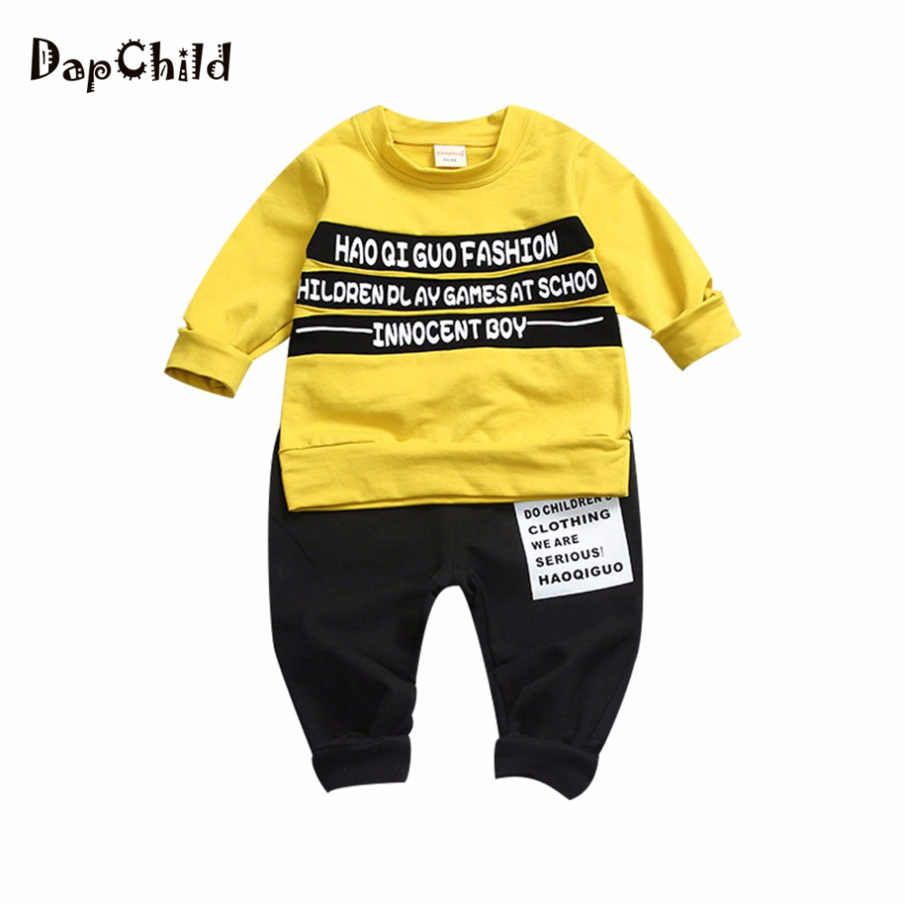 Dapchild Cotton Spring Autumn Boy Clothing Sets 2pcs Set Kids Sports Suit Children Tracksuit Baby Sweatshirt Outfit Casual Cloth