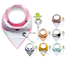 2017 Pacifier Cartoon Triangle Cotton Towel Baby Bib Slobber Double Kids Accessories MAR6_30