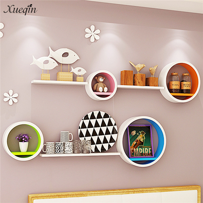 Xueqin Set of 4 Floating Wall Shelf Floating Shelves Storage Lounge Wood Cube Round For Living Room Bookrack