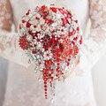 Rojo Plata broche ramo de gama alta de encargo de la boda ramos de novia de cristal de diamante en forma de lágrima estilo Bride's Bouquet decoración