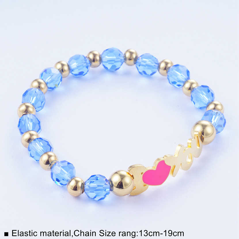 Yunkingdom Romantic Light Blue Beads Bracelet & Bangles Heart Charm Stainless Steel Bracelets for Women Girls Adjustable