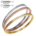 60 mm Diameter Simple round Bangle copper bracelet gold plated with white cz Bangles new design new year gift Free shipping
