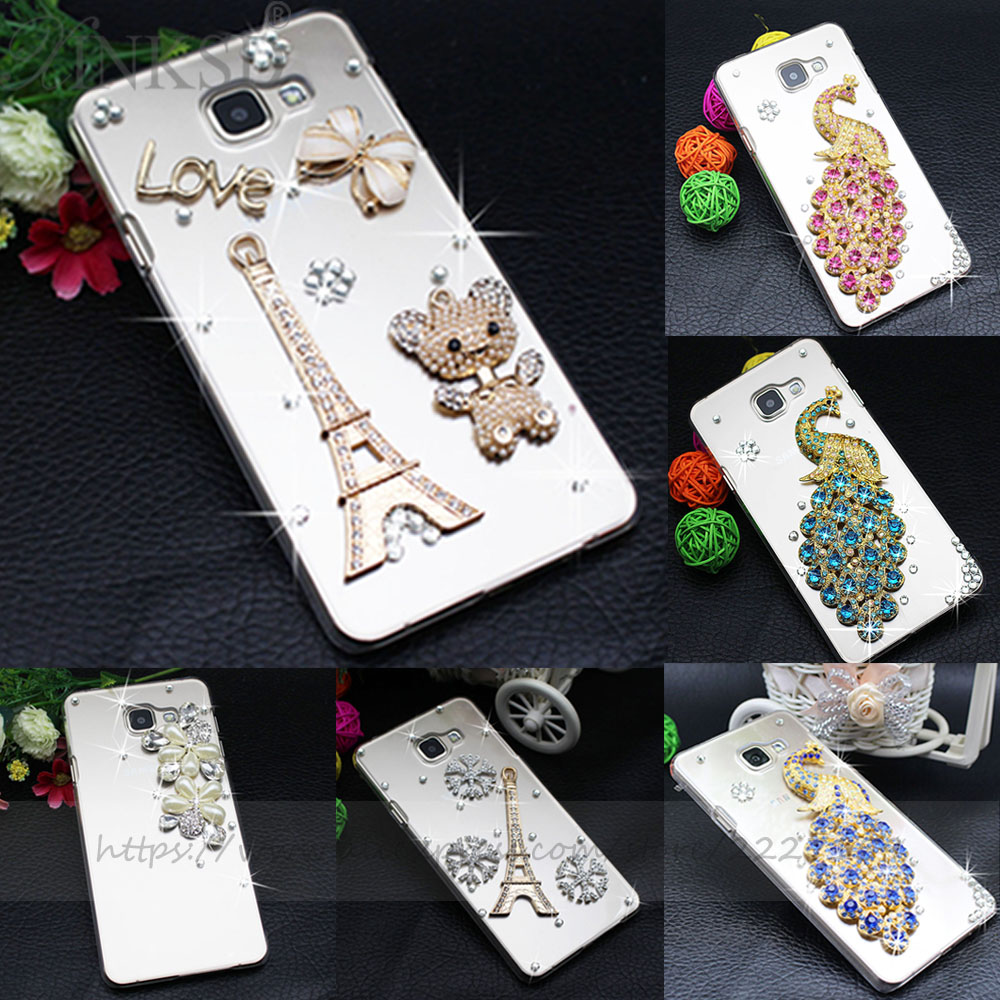 Pu leather case for samsung galaxy a7 2016 a710 peacock feather - Clear Slim Luxury Diamond Pearl Rhinestone Peacock Tower Hard Clear Phone Case Cover For Samsung Galaxy
