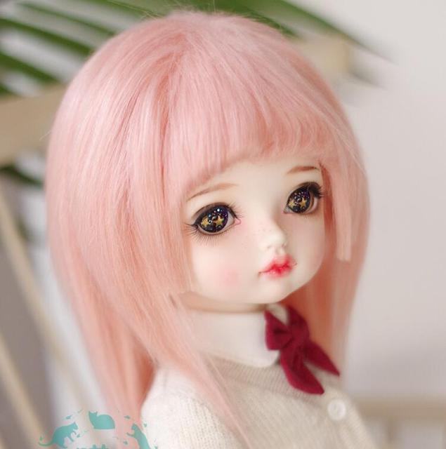 Nowy 1/12 12cm 3-4 cal 9-10cm 1/8 4-5 cal 14cm BJD tkaniny futro peruka szczyt różowy dla AE PukiFee lati lalki przeciwpoślizgowe BJD peruka dla lalki
