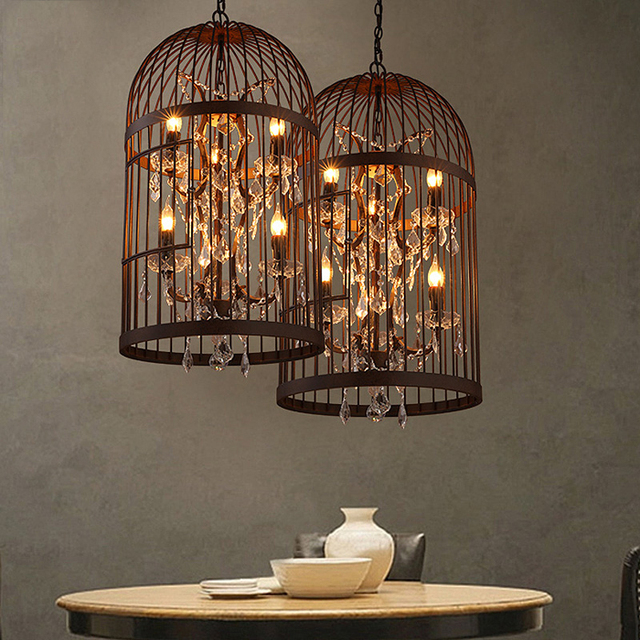 American Country Old Vintage Crystal Chandelier Birdcage Indoor Lamps Bedroom Retro Wrought Iron Led Kitchen
