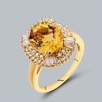 Oval 9x11mm 14kt Yellow Gold Diamond Yellow Natural Citrine Ring, Baguette Diamond Ring For Women SR0002