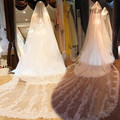 4 Meters Bridal Veils Long White/Ivory Lace Edge Sparkle Sequin Wedding Veil Wedding Accessories