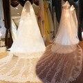 4 Metros Véus de Noiva Longo Branco/Marfim Borda Do Laço Faísca Lantejoula Wedding Veil Acessórios Do Casamento