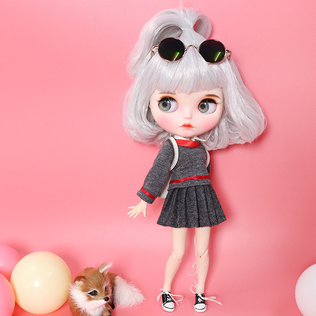 Blyth Doll 1/6 Joint Body hand painted matte face white skin gray short hair suit 30cm DIY BJD SD toys gift AB hand set