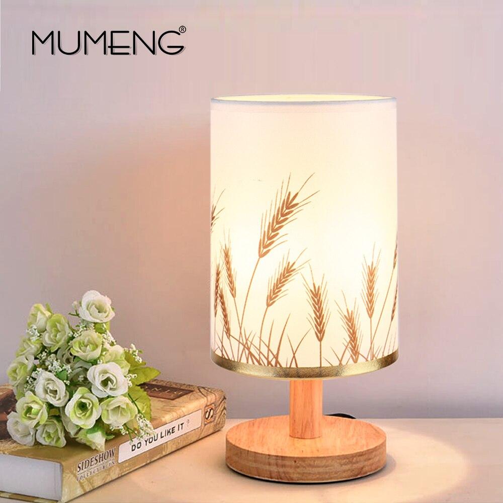 Top mumeng moderno legno lampada da tavolo e acvue spina degli stati uniti studente lampada da tavolo camera da letto lampada da comodino coperta with