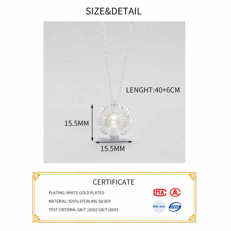 Inzatt Elegan Mutiara Bunga Kalung Liontin Kalung Otentik 925 Sterling Silver Fine Perhiasan untuk Wanita Aksesoris Lucu Hadiah