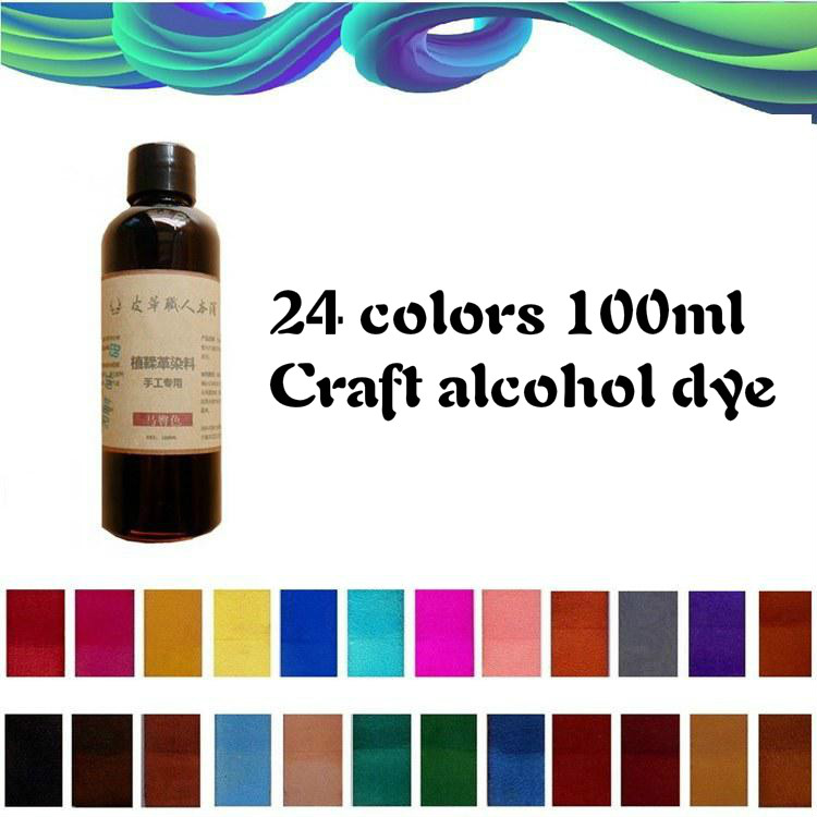 24 Colors Chosing 100ml Vegetable Tanned Leather  Cowhide Alcohol Dye  DIY Dyeing Leather Carving