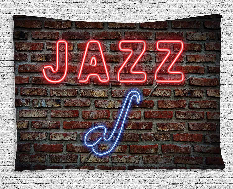 Tapiz musical de neón con todos los signos de Jazz con instrumento de saxofón en pared de ladrillo colgante de pared para sala de estar de dormitorio