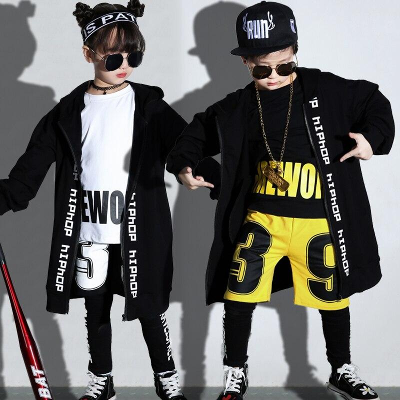 2019 Hip Hop Costume enfants moderne garçons vêtements enfants scène Performance danse tenues filles Jazz rue danse porter DNV11113