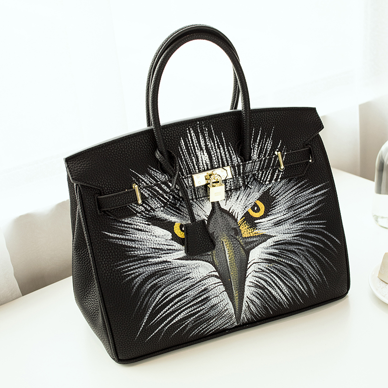2016European Style High Quality Graffiti bag PU Leather Litchi grain platinum bag hand-painted owl America 35CM design with Lock
