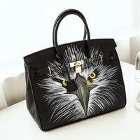 2016European Style High Quality Graffiti bag PU Leather Litchi grain platinum bag hand painted owl America 35CM design with Lock