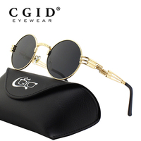 CGID Polarized Gothic Steampunk Style Inspired Round Metal Circle Retro Steam Punk Sunglasses For Men Women