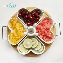 Home Ceramic snacks tray wood plate food organizer storage box can be uesd in afternoon tea