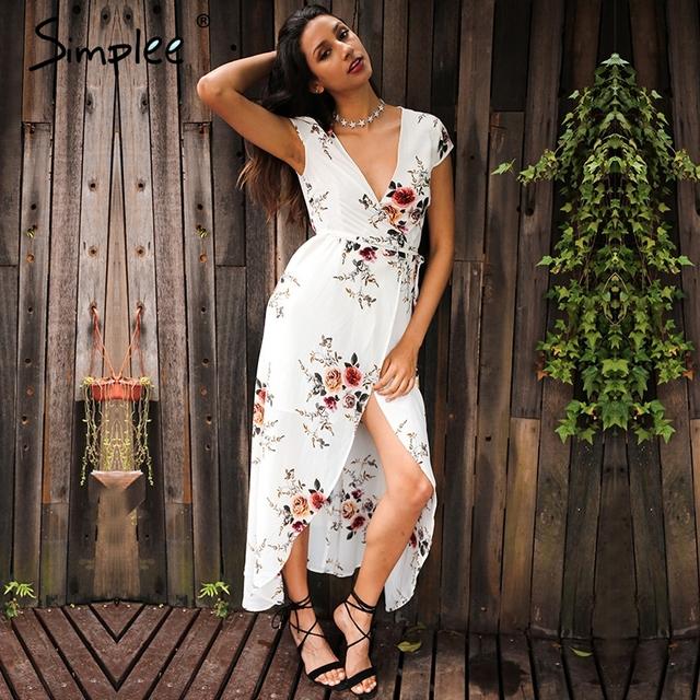 Simplee Deep v neck asymmetrical print summer dress Short sleeve high waist split sashes maxi dress Summer party vestidos