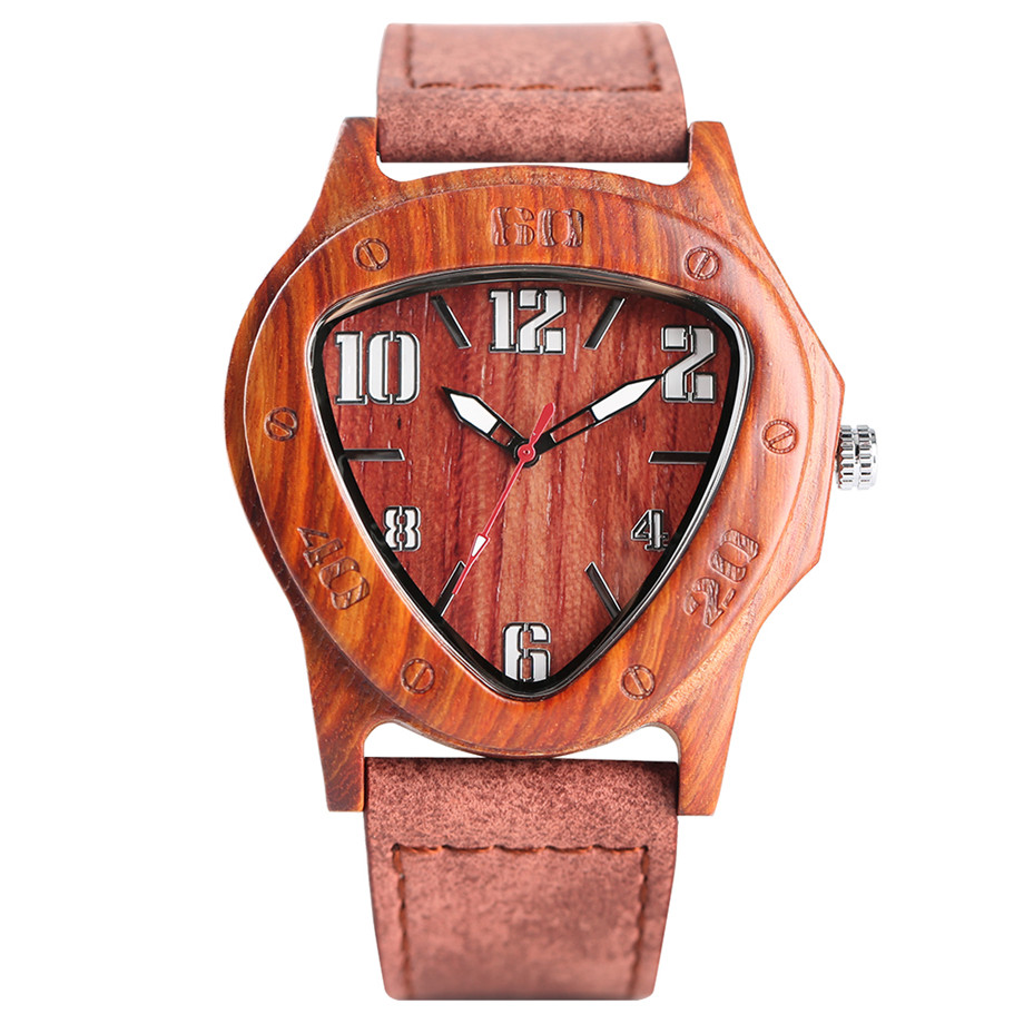genuine leather band pink buckle quartz red sandalwood watches01