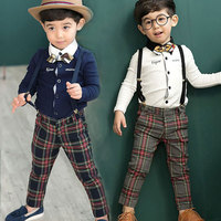 New Boys and Girls Spring and Autumn Long Sleeved Gown Dress Bow Tie Plaid Pants Suit