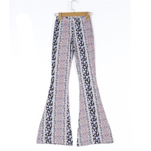 2019 Ethnic Geometric Print Flare Pants Pink Sexy Women Bohemian Tribal African Hippie Pants Bell Leggings Bottom Long Trousers